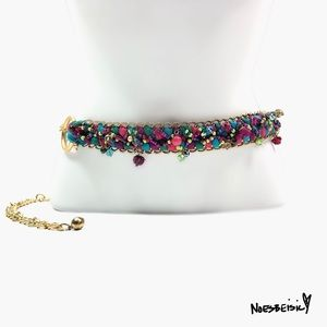 Chico's Colorful Beaded Adjustable Gold Chain Belt